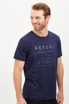 Cortefiel Printed t-shirt Blue