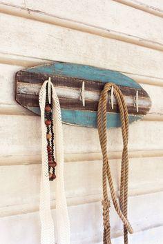 wooden surfboard coat rack with cleat hangers