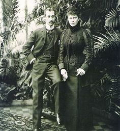 The Duke of Clarence with his fiancée Princess Mary of Teck. He would die before their marriage and she would go on to marry his brother, who would go on to become George V.