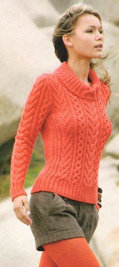 Love the coral sweater. Aran Knitting Patterns, Cable Knitting, Knitting Stitches, Knit Patterns, Sweater Design, Knitwear, Knit Crochet, Sweaters For Women, Clothes