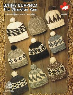 White Buffalo Knitting Pattern His or Hers hats by KilbellaVintage, $2.50