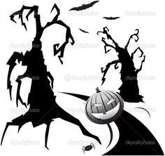Trees, hallowen pumpkin and bats — Stock Vector © katerinvr #