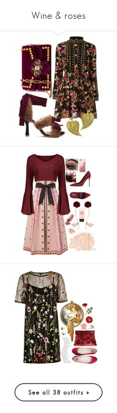 """Wine & roses"" by halcyon-heart ❤ liked on Polyvore featuring Attico, Gucci, Alex Soldier, StreetStyle, Temperley London, Kate Spade, Futuro Remoto, Sergio Rossi, Stephen Webster and LAQA & Co."