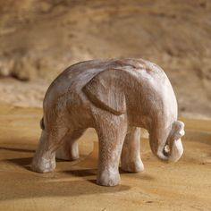 Hand Carved Elephant Sculpture made from White Washed Mango Wood | Wooden Animal Statue on Etsy, $30.00