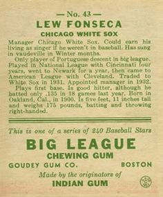 1933 Goudey #43 Lew Fonseca Back