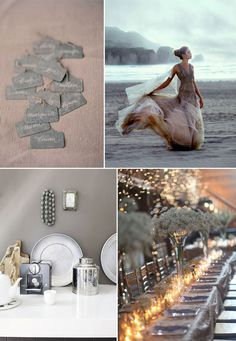 Grey wedding paper, decor and bridesmaid dress
