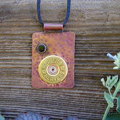 Etched Copper Pendant  12 Gauge Shot Gun Shell by RusticSpoonful