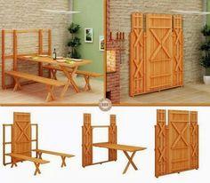 Mesa y bancos que se ocultan en la pared