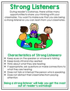 Help your students learn how to become strong readers and strong listeners with these 20 mini reader's workshop anchor charts. These charts will help your students learn all of the important reading routines that take place during reader's workshop.