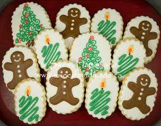 Sweet Handmade Cookies - Christmas cookies, gingerbread man cookies, candle cookies, Christmas tree cookies.