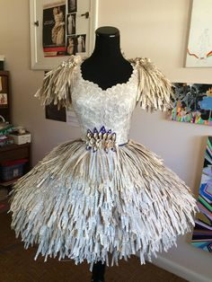 The Things in My Studio — Finished today, because it has to go out in Recycled Costumes, Recycled Dress, Recycled Clothing, Recycled Cans, Dress Card, Diy Dress, Paper Clothes, Paper Dresses, Thrift Store Refashion