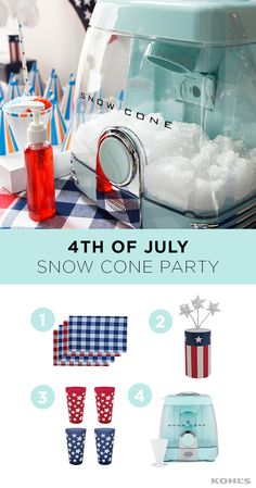 One of the hottest holidays of the year calls for a cooldown. If you don't have a cool lake to jump into, we recommend the next best thing: a snow cone party! First thing's first: stock up on ice, flavored syrups (red and blue, of course) and this snow cone machine. Decorate for the party with lots of Americana, like pillows, cups, napkins and candles. Celebrate summer with Kohl's.