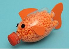 plastic bottle filled with beads and fins glued on outside (page doesn't tell you how to do it and is full of adverts - beaware!)