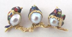 Vintage 18k Yellow Gold 3 Bird Brooch with Pearls and Painted Enamel, Buy-it-Now $845 or Make Offer