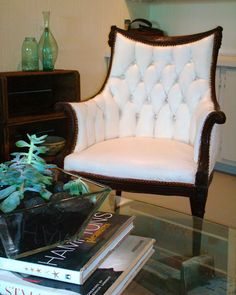 gorgeous chair painted from an orange pink to white!
