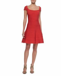 Cap Sleeve Scalloped Dress, Coral Poppy by Herve Leger at Bergdorf Goodman.