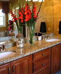 Double sinks and granite is great in the master bathroom.
