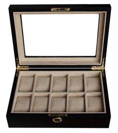 10 Piece Ebony Wood Walnut Watch Display Case and Storage Organizer Box