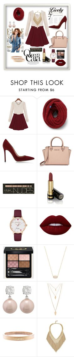 """Maroon"" by manarn5 on Polyvore featuring Keds, Gianvito Rossi, Michael Kors, Gucci, Kate Spade, Lime Crime, Kendra Scott, Forever 21 and Chanel"