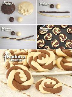 Wind Rose Cookies Recipe, How To? Rose Cookies, Cookies Et Biscuits, Baking Recipes, Cookie Recipes, Dessert Recipes, Cakes Originales, Food Decoration, Turkish Recipes, Food Humor