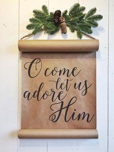 christmas scroll Merry Little Christmas, Christmas Paper, Christmas Love, Country Christmas, Christmas Signs, Winter Christmas, Christian Christmas Crafts, Christmas 2017, Christmas Ideas