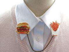 Food Lover Hamburger and Fries Geekery Quirky by whatanovelidea, $26.00
