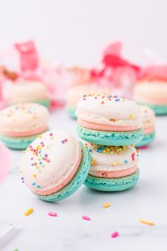 These birthday cake macarons are the perfect addition to any birthday celebration! Deliciously light and flavorful, filled with birthday cake buttercream, and topped with colorful sprinkles. Easy Cookie Recipes, Best Dessert Recipes, Cupcake Recipes, Fun Desserts, Delicious Desserts, Sweets Recipes, Amazing Recipes, Recipes Dinner, Easy Recipes