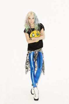 metallic blue pants
