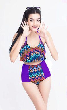 Aztec Violet Ruffle Bra Top and High waisted waist Shorts Bottom Bikini set sets Two piece 2PC Swim Bathing suit suits Swimsuit Swimwear S M...