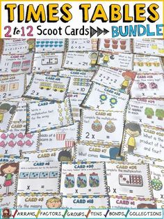 Review multiplication facts and build number sense with these multiplication scoot cards on the 2 to 12 times tables. Each Times Table set features 32 highly visual colorful cards to make abstract content more concrete and meaningful.  https://www.teacherspayteachers.com/Product/MULTIPLICATION-TIMES-TABLES-GROWING-BUNDLE-3093021