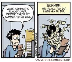 "PHD Comics - Summer: the place ""to do"" lists go to die"