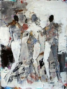 Julie Schumer. Figures 3, Nº 71. Mixed media on paper, 15 x 11.