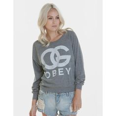 Womens Obey Og Forever Sweatshirt - Heather Grey ($67) ❤ liked on Polyvore