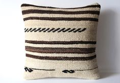 Handwoven Wool Striped Vintage Tribal Turkish Kilim Pillow Cover.