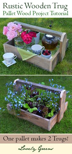 How to make TWO rustic wooden trugs out of a single pallet. Gorgeous for indoor display but can also be used as wooden planters   #pallet #palletproject #pallets #containergardening #rustic #decor #diy #tutorial #upcycle #reclaimedwood