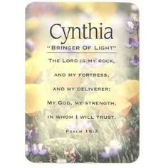 the name cynthia means | Cynthia Name Meaning Cards Pocket Sized With Scripture Baby
