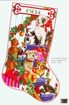 Gallery.ru / Фото #1 - 41 - IannaD X-stitch Dogs Stocking free pattern