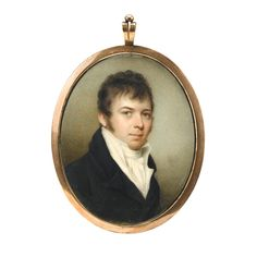 "Edward Greene Malbone (1777-1807)   miniature portrait of a young gentleman   Signed, lower right, ""Malbone,"" watercolor on ivory, gilt metal locket frame."
