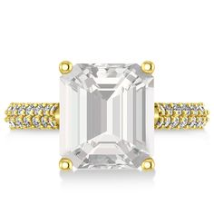 Emerald-Cut White Topaz & Diamond Engagement Ring 18k Yellow Gold (4.42ct) - Allurez.com