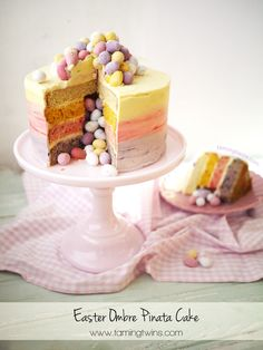 Easter Ombré Mini Egg Pinata Cake | http://www.tamingtwins.com Taming Twins