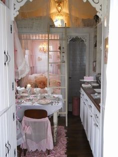 A Joyful Cottage: Living Large In Small Spaces - A Tour of Shabby Chic Tiny Retreat  ladder to guest loft, there are two