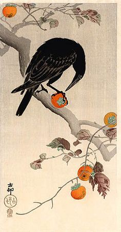 Crow Eating Pomegranate by Ohara Koson