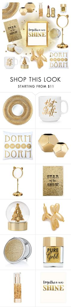 """GIFT IDEAS GOLD"" by tiziana-melera ❤ liked on Polyvore featuring interior, interiors, interior design, home, home decor, interior decorating, Noble Park, Global Views, Katie Loxton and PBteen"