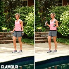 Alternating-Angle Bicep Curls Stand with your palms up, elbows glued to your side. Lift a pair of 5- to 12-pound dumbbells directly up toward your shoulders, then slowly lower down. For the next rep, flip the weights so your palms are facing in and lift up into a hammer curl, then slowly lower down. Continue alternating 12 to 15 reps of each (24 to 30 total).