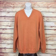 ⭐BROOKS BROTHERS 346 V-Neck Sweater Mens Pima Cotton Large Orange Excellent!  | eBay