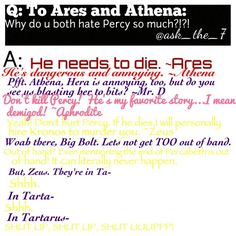 Ares HE NEEDS TO DIE. But personally my ship is Solangelo so I don't find Percabeth very appealing even tho everyone is obsessed with them Percy Jackson Memes, Percy Jackson Books, Percy Jackson Fandom, Percy And Annabeth, Annabeth Chase, Magnus Chase, Solangelo, Percabeth, Oncle Rick