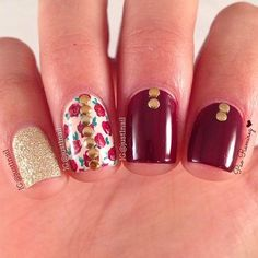 Dark Red and Golden Nail Design