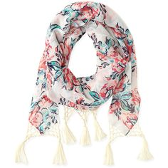 Aeropostale Floral Tassel Scarf (11 CAD) ❤ liked on Polyvore featuring accessories, scarves, cream, multi colored scarves, colorful shawl, aeropostale scarves, floral print scarves and floral scarves