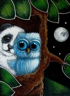 BLUE OWL A PANDA BEAR VISIT - by Cyra R. Cancel from