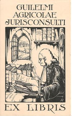 Ex libris by Anton Pieck (Dutch, 1895-1987) ~ Anton Franciscus Pieck was a Dutch painter, artist and graphic artist. Pieck married Jo van Poelvoorde (died 1983) in 1922. The couple had three children, Elsa, Anneke and Max (died 1986). His works are noted for their nostalgic or fairy tale-like character and are widely popular, appearing regularly on cards and calendars.